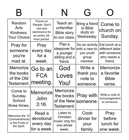 High School Bible Study Class Bingo Card