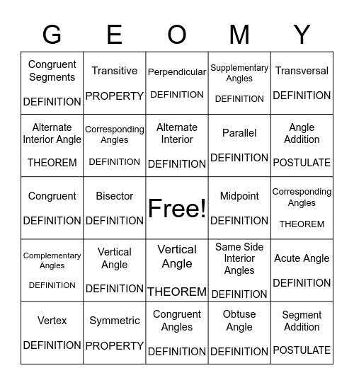 Unit 1 BINGO Card