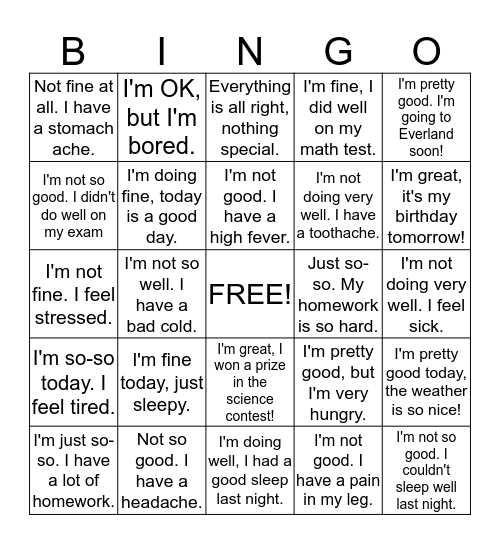 How are you feeling today? Bingo Card