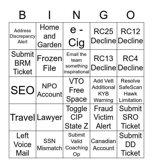 It's Friday Bingo! Bingo Card