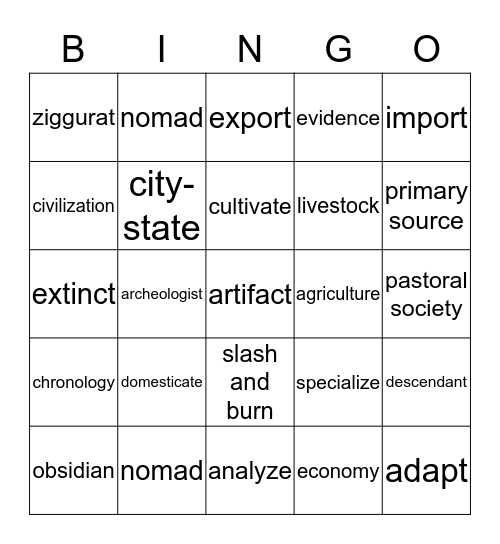 Social Studies vocabulary Bingo Card