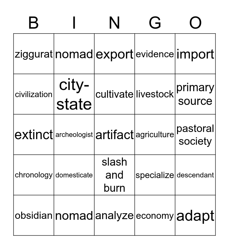 Social Studies vocabulary Bingo Card