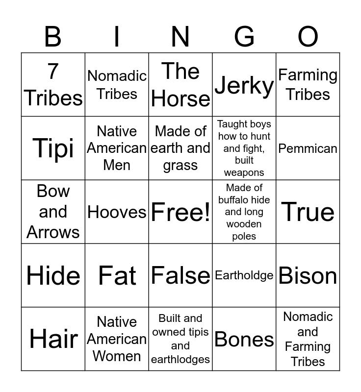Native Americans Bingo Card