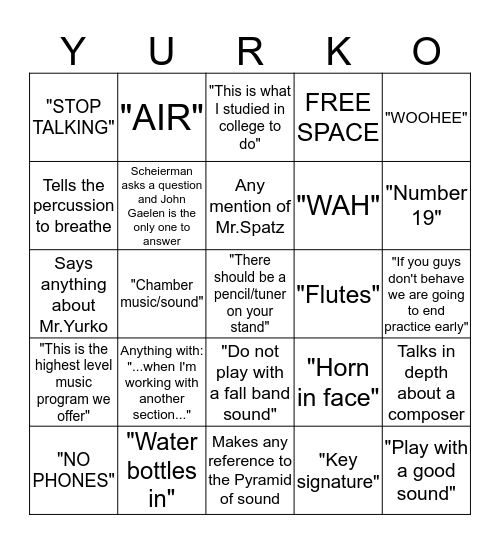 Wind Enselmble Bingo Card