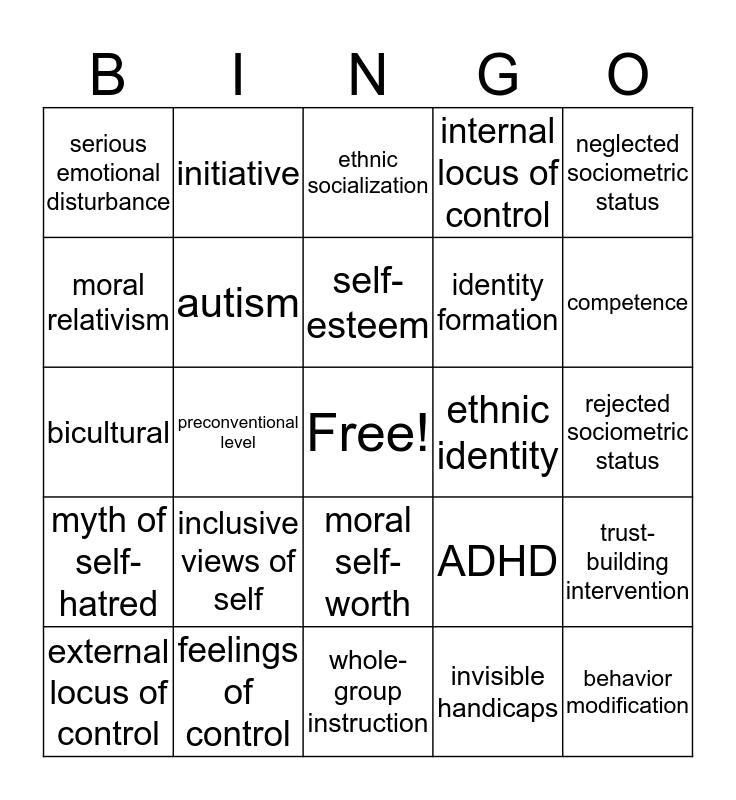 Chapter 17 Bingo Card