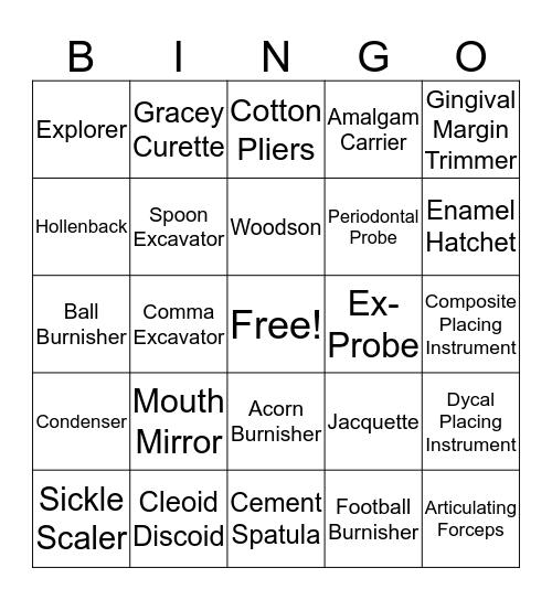 Dental Instruments Bingo Card