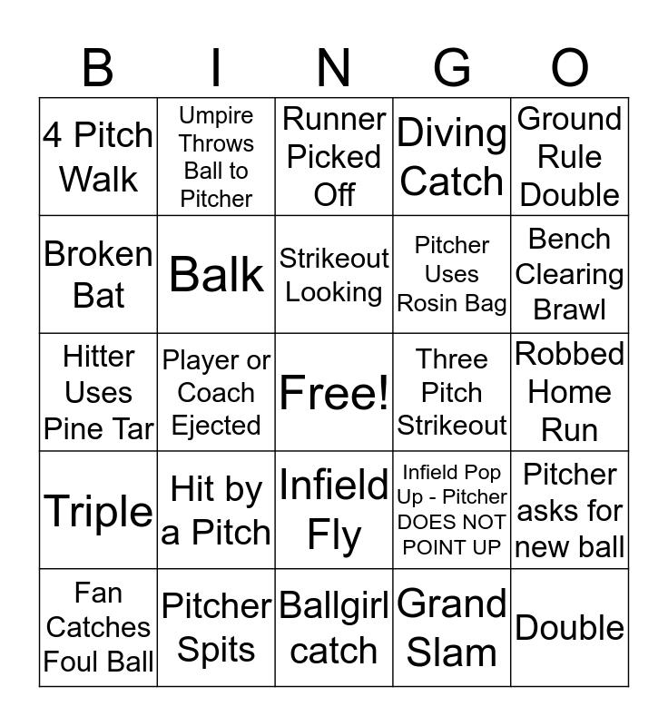 MLB Playoff Bingo Card