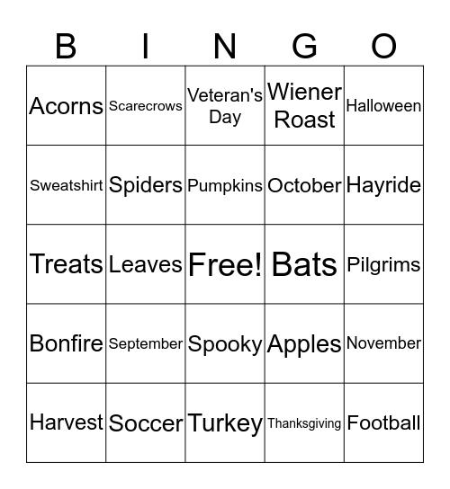 Autumn Bingo  Bingo Card