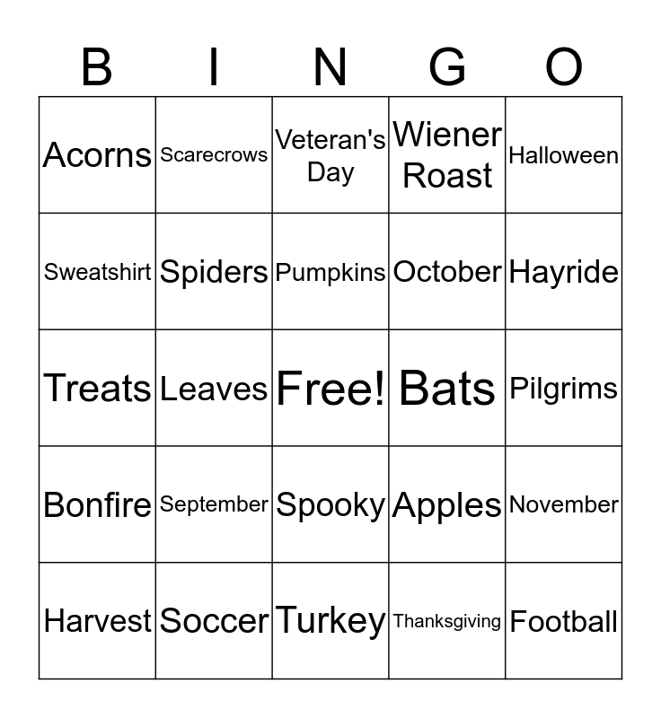 Autumn Bingo  Bingo Card