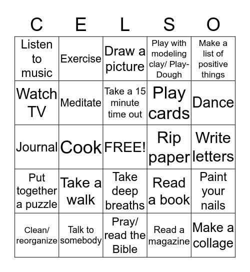 Coping Skills Bingo! Bingo Card