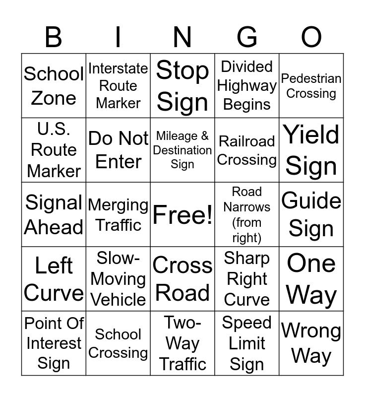 Driver's Education Bingo Card