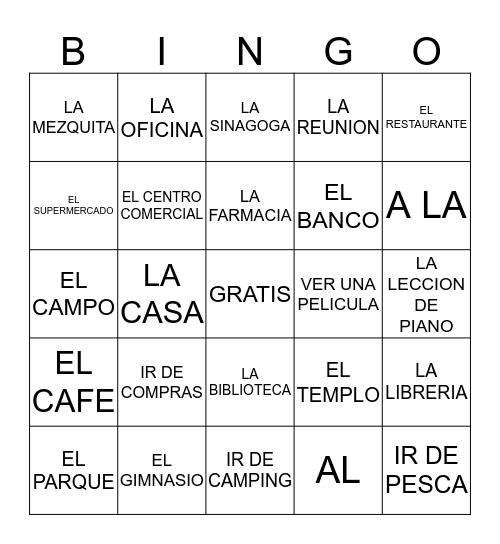 PASATIEMPOS/LUGARES Bingo Card