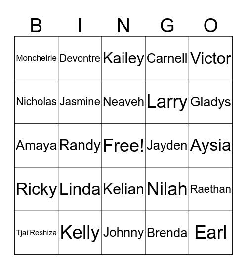 Lula Mae Famliy Bingo Card