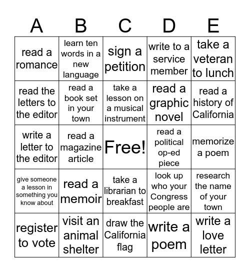 """""""Pick Five"""" Challenge Bingo Card"""