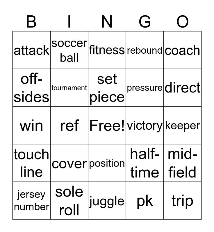 Soccer Terms Bingo Card