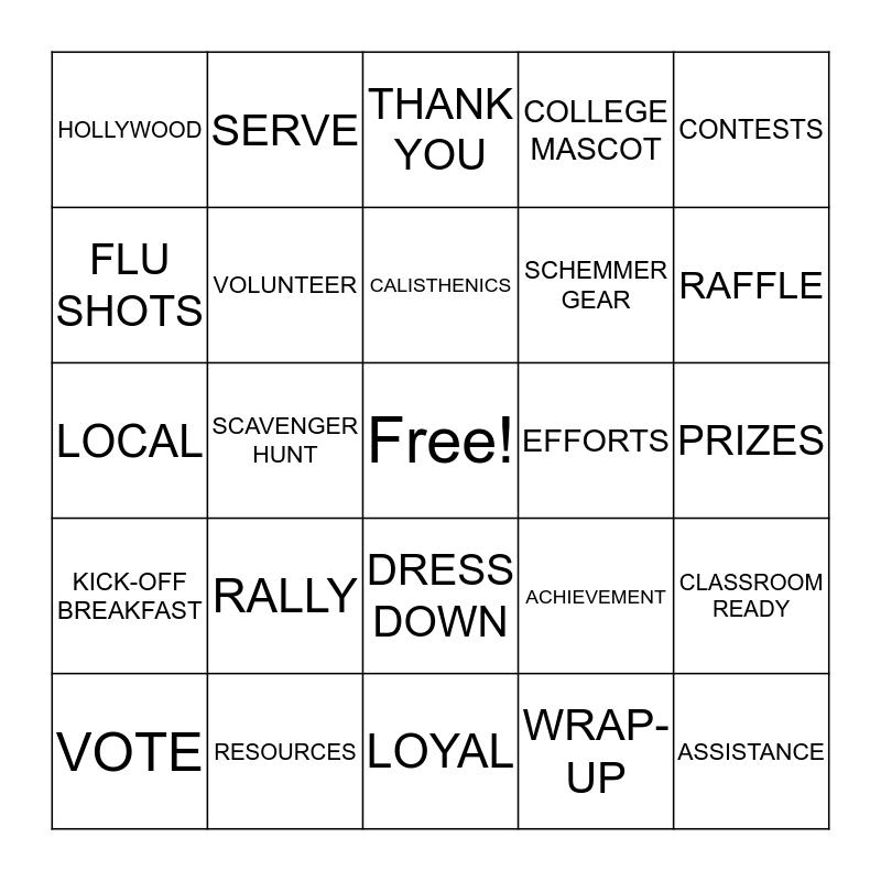 United Way Bingo Card