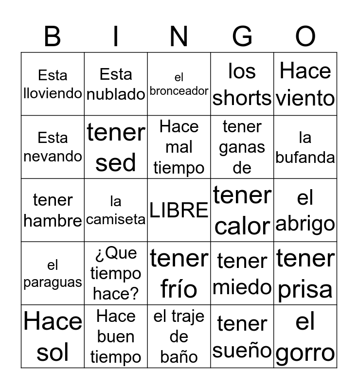 SPANISH - BINGO Card