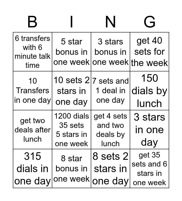 Setter Bingo Card