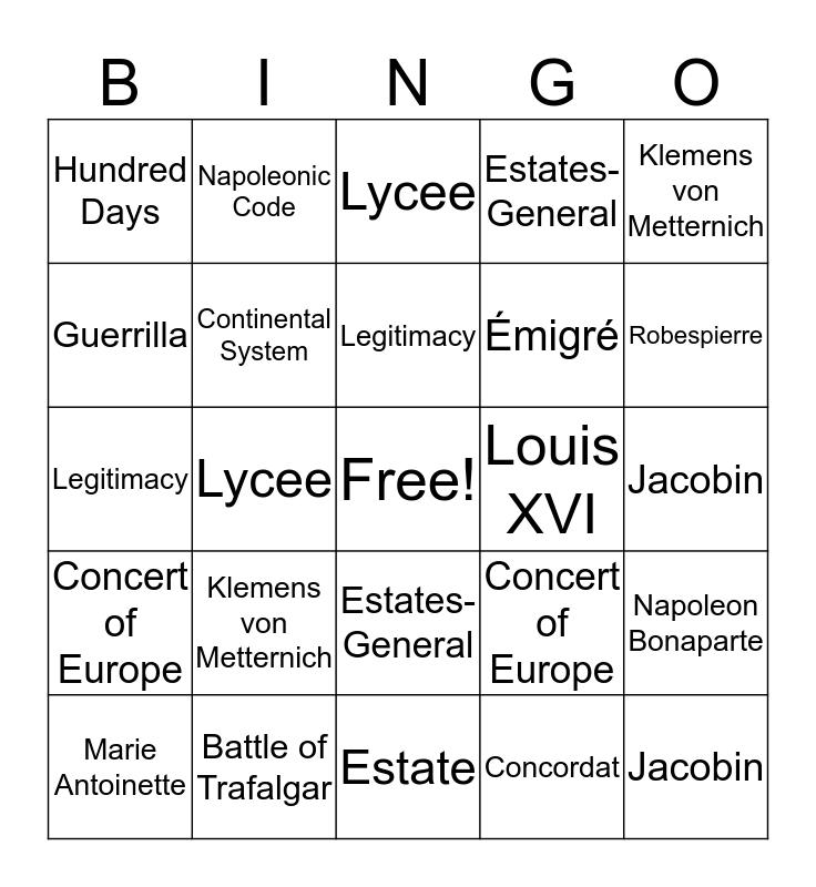 French Revolution Bingo Card
