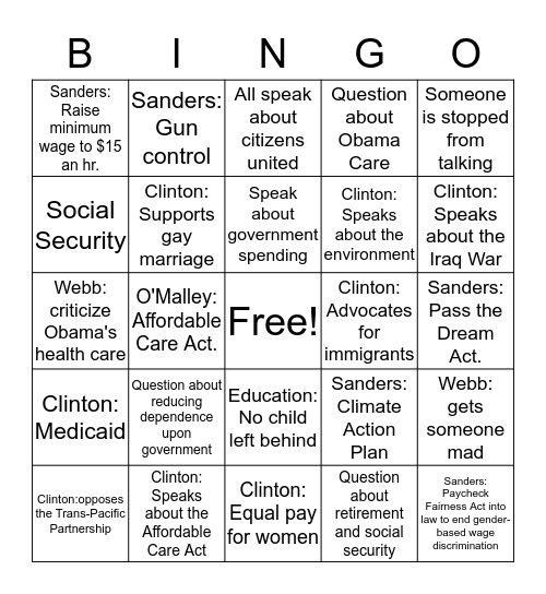 DEMOCRATIC DEBATE. AP GOV. Bingo Card