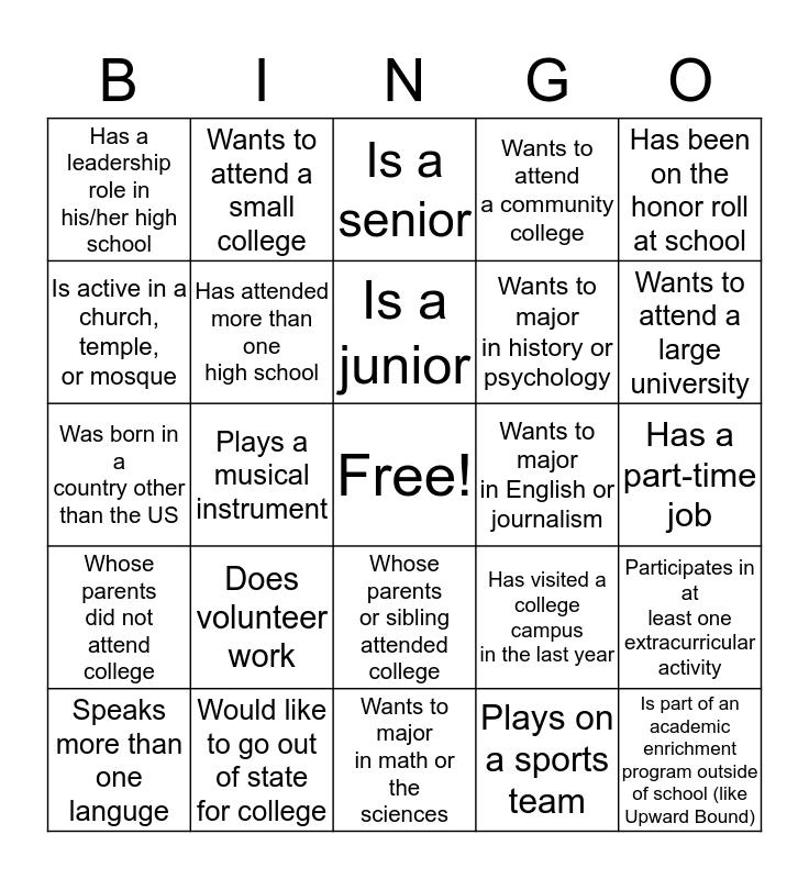College Bound Bingo Card
