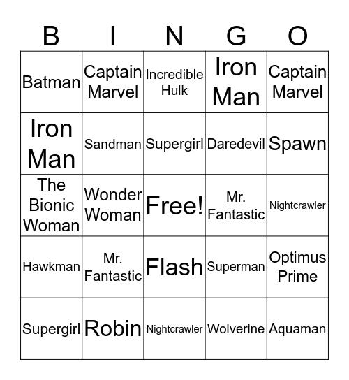 Super Hero Bingo  Bingo Card
