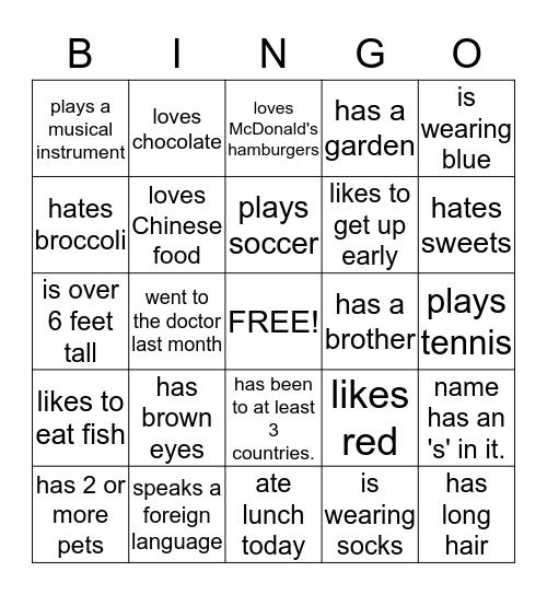 Human Bingo Card