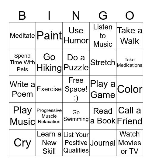 Positive Coping Skills Bingo Card