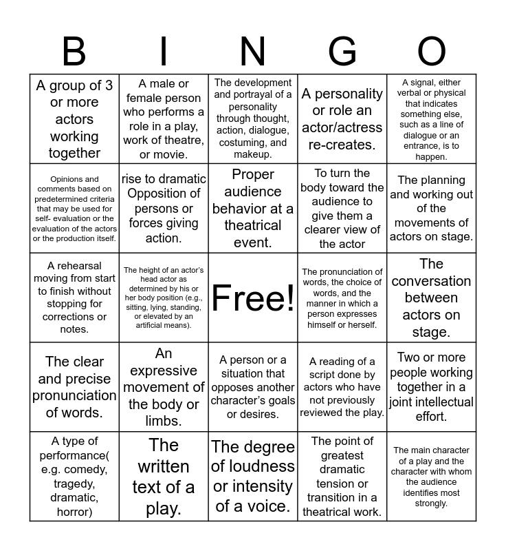 Theatre Vocabulary Bingo Card