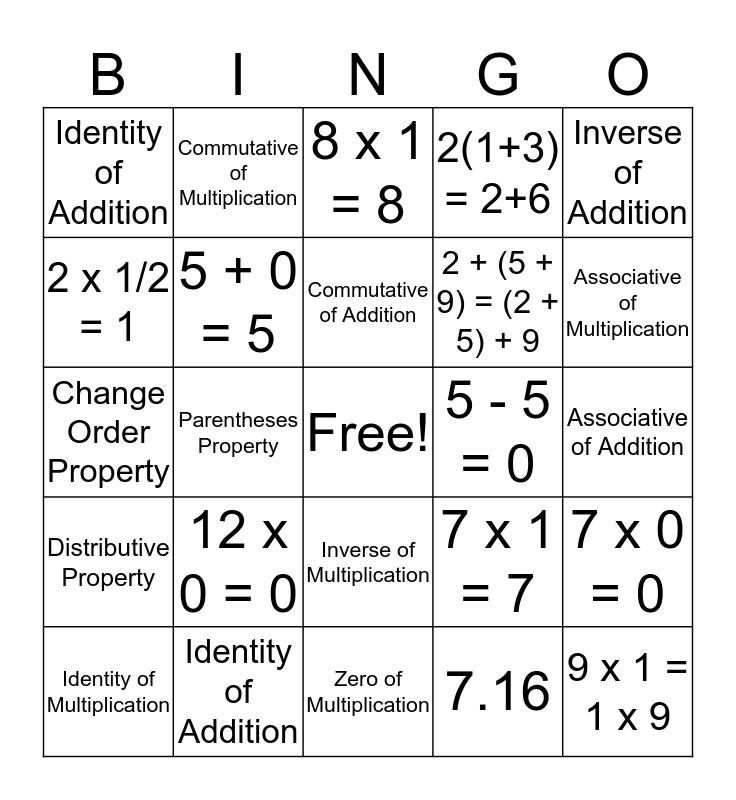 Number Properties Bingo Card