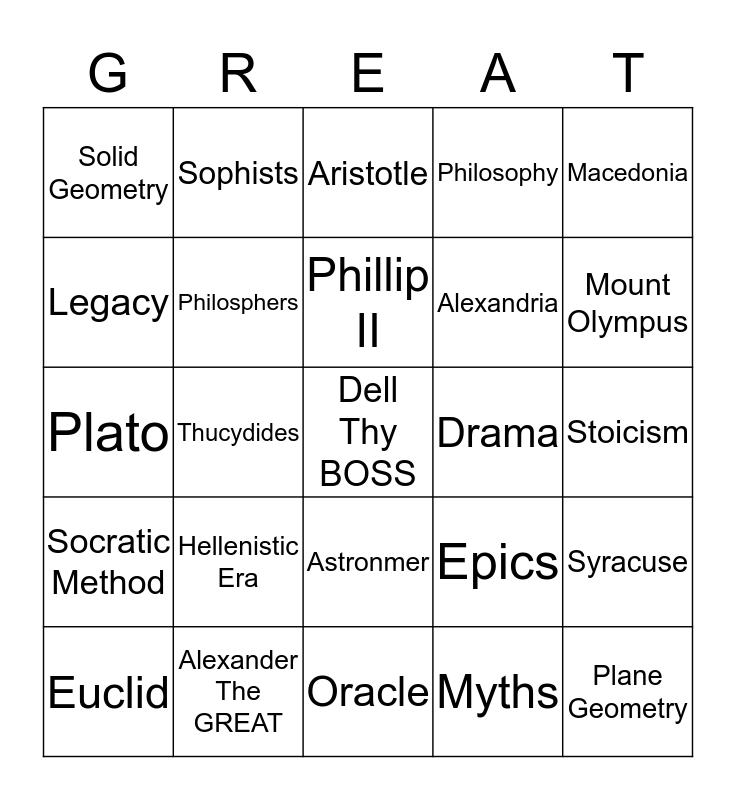 SS BINGO by Dell the awesome and cool, Dylan the Great Bingo Card
