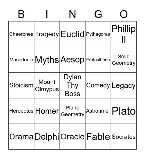 S.S BINGO by Dell the awesome and cool, Dylan the Great Bingo Card