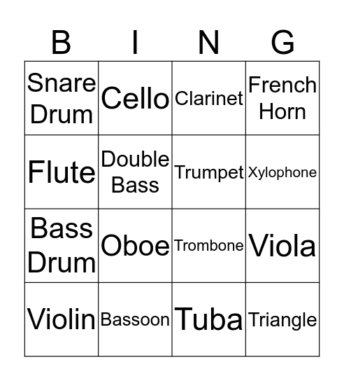 Instrument Bingo Card