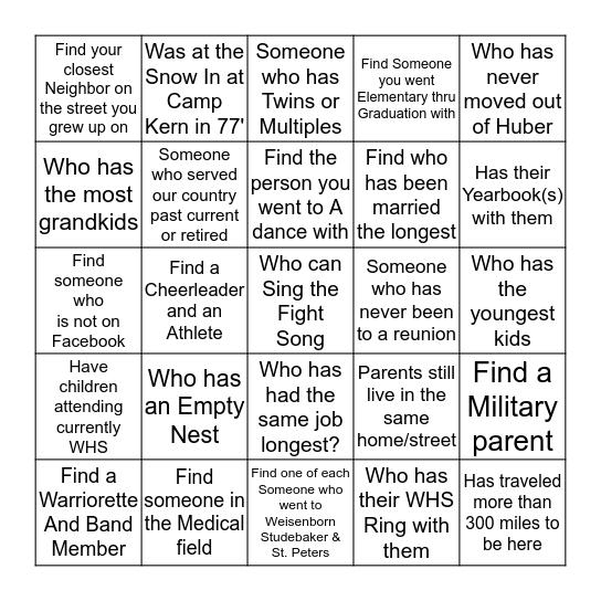 FIND These Warriors Bingo Card