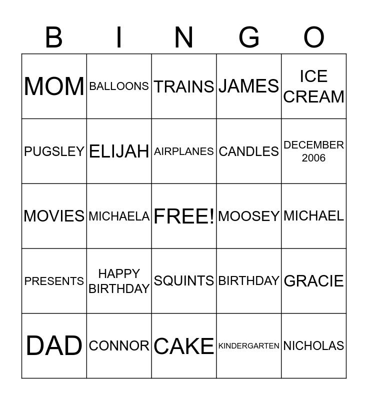 Happy Birthday Connor!! Bingo Card