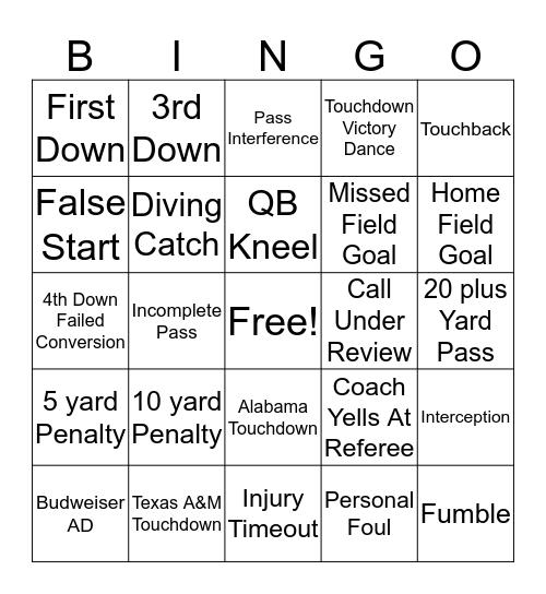 Houston Texans Grille Bingo Card