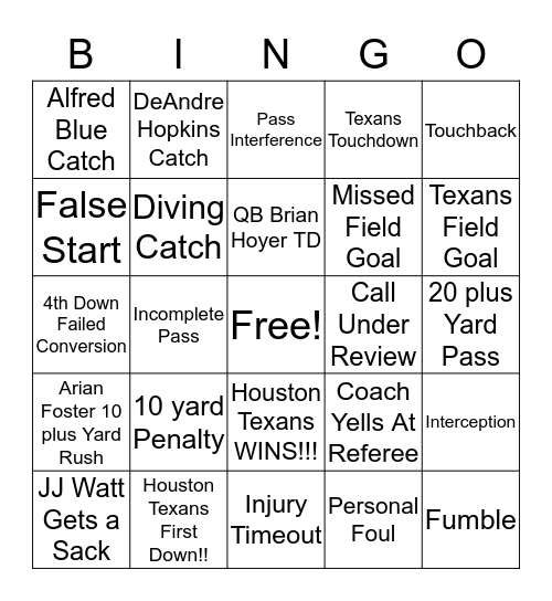 Houston Texans Grille Texans vs Jaguars Bingo Card