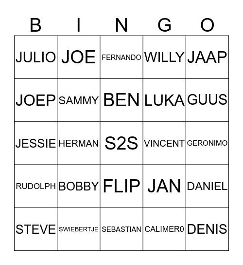 JONGENS Bingo Card