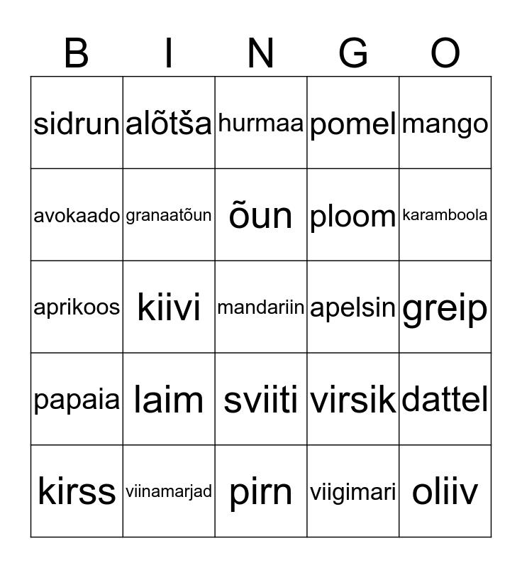 PUUVILJAD Bingo Card