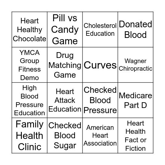 Operation Heart  Bingo Card