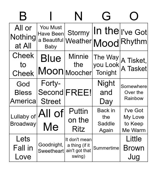 Popular Songs of the 1930's Bingo Card