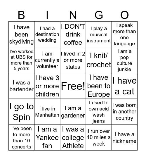 Woman's Forum Bingo Mingle! Bingo Card