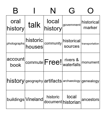 Your Community and You Bingo Card