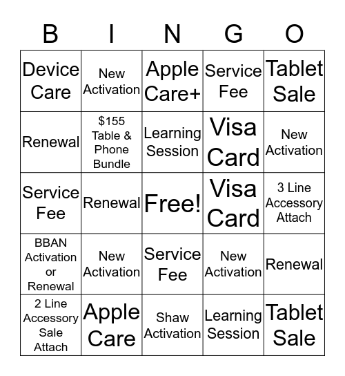 GBS Mobility BINGO Card