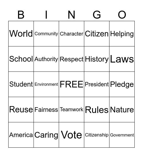 Citizenship Bingo Card