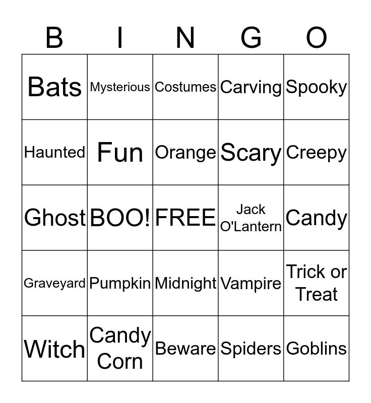Pumpkin BINGO Card
