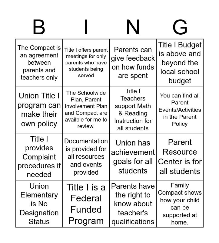 Title I TRUE/FALSE Bingo Card