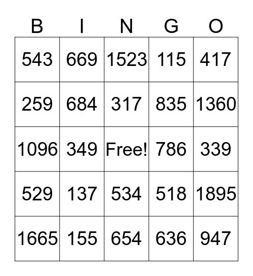 Addition and Subtraction Bingo Card