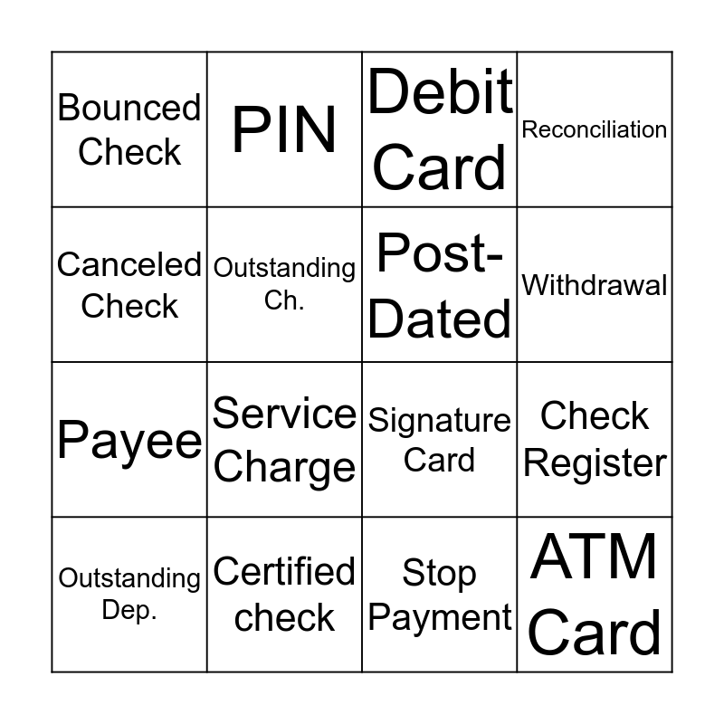 Banking & Checking Vocabulary Bingo Card