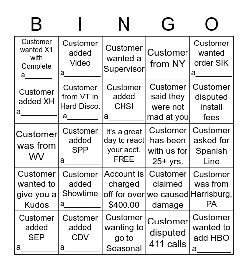 Disco Bingo (please provide acct. # for anything with a______ at the bottom) 1 Square Per Account Bingo Card
